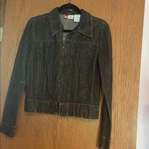 Faded Glory, Black zip up Jean Jacket